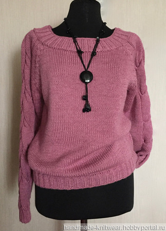 Джемпер Объемные косы на рукавах розовый ручной работы на заказ