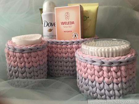 Набор корзиночек для ванной комнаты ручной работы на заказ