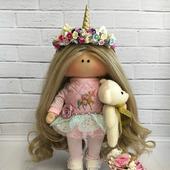 Интерьерная и игровая кукла ручной работы тильда единорожка