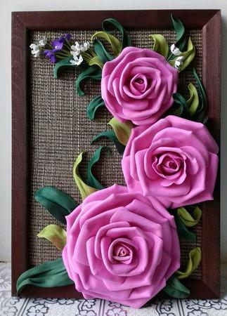 """Панно с цветами """"Розы"""" ручной работы на заказ"""