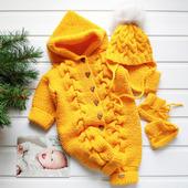 Комплект желтый: комбинезон, шапка, пинетки