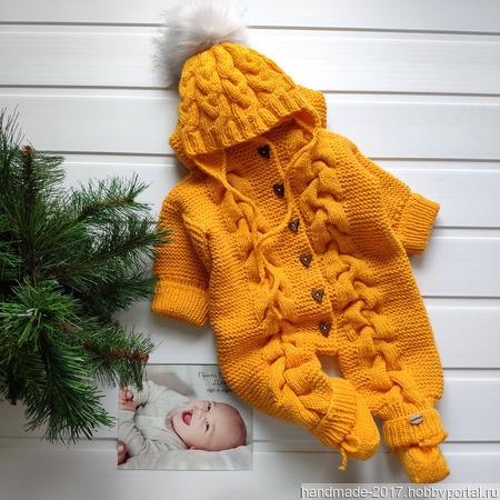 Комплект желтый: комбинезон, шапка, пинетки ручной работы на заказ