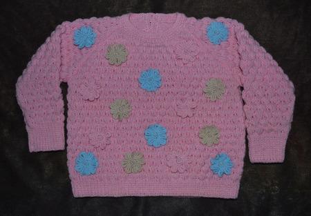 """Джемпер для девочки """"Цветочная поляна"""" ручной работы на заказ"""