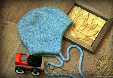 МК по двойной двусторонней бесшовной шапке с ушками ручной работы на заказ