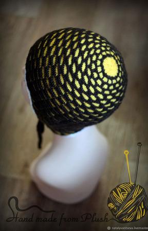 МК-описание двойной шапки с ушками Honey (Медовая) ручной работы на заказ