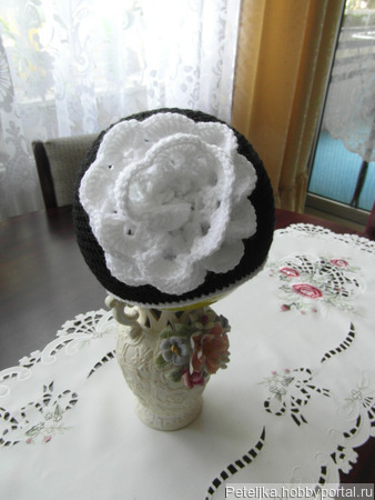 """Шапочка """"Белая роза"""" ручной работы на заказ"""
