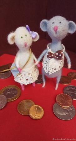 """Валяные мышки """"К Богатству и Процветанию!)"""" ручной работы на заказ"""