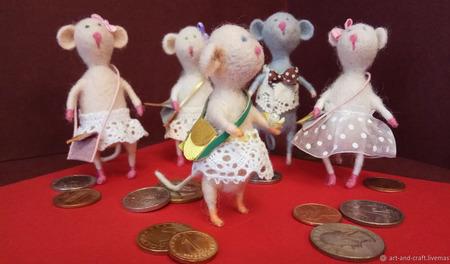 """Валяные мышки """"К Богатству и Процветанию!"""" ручной работы на заказ"""