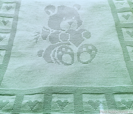 """Детский плед """"Мишка Тедди'"""" с теневым узором ручной работы на заказ"""