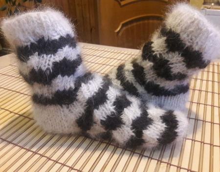 Носочки детские  из собачьего пуха ручной работы на заказ