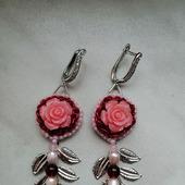 Серьги розовые с натуральными камнями