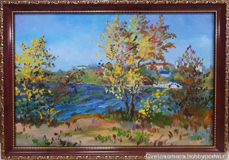 """Картина """"Осень на р.Самарка, г.Самара"""" ручной работы на заказ"""
