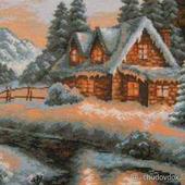 """Вышитая картина """"Сказочный домик"""""""