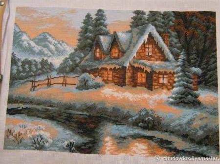 """Вышитая картина """"Сказочный домик"""" ручной работы на заказ"""