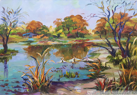 """Картина """"Озеро в п.Рубежный, г.Самара"""" ручной работы на заказ"""