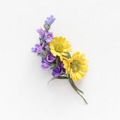 Брошь с лавандой, цветы желтые фиолетовые, букетик цветов
