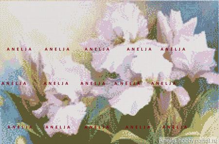 """Схема к картине """"Ирисы белые"""" ручной работы на заказ"""