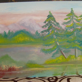 """Картина """"Сосны у озера"""""""