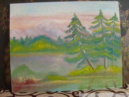 """Картина """"Сосны у озера"""" ручной работы на заказ"""