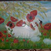 """Картина """"Лебедь в маках"""""""