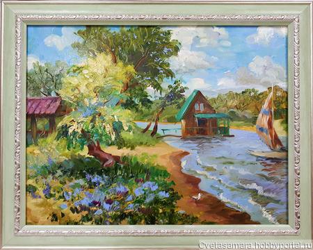 "Картина ""Пляж на Проране, г.Самара"" ручной работы на заказ"
