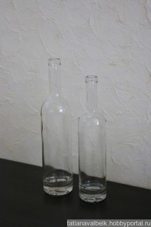 Бутылки стеклянные прозрачные белые с толстым дном ручной работы на заказ