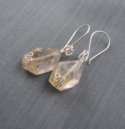"""Серьги """"Golden pins"""" из серебра и кварца-рутила ручной работы на заказ"""