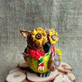 Сова с шарфом - фигурка из папье маше