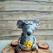 Крыса серебряная фигурка  статуэтка из папье маше