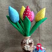 Тюльпаны из ткани в стиле тильда