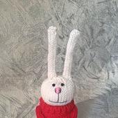Заяц в красном свитере