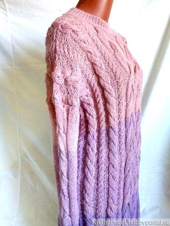 """Длинное вязаное платье из альпаки """"Pink Rose"""" ручной работы на заказ"""