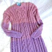 """Длинное вязаное платье из альпаки """"Pink Rose"""""""