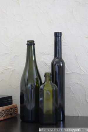 Бутылки стеклянные оливковые 3 вида ручной работы на заказ