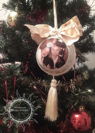 Новогодний шар с вашим фото ручной работы на заказ