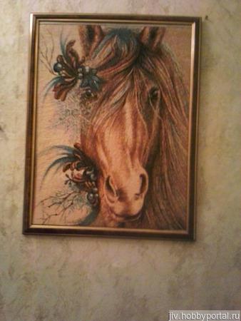 "Вышитая картина ""Лошадка"" ручной работы на заказ"