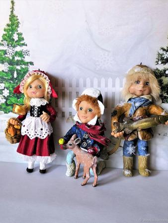 Ватные ёлочные игрушки (набор) ручной работы на заказ