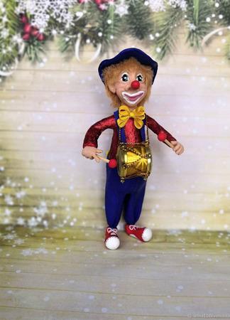 """Ватная ёлочная игрушка """"Клоун"""" (Повтор) ручной работы на заказ"""