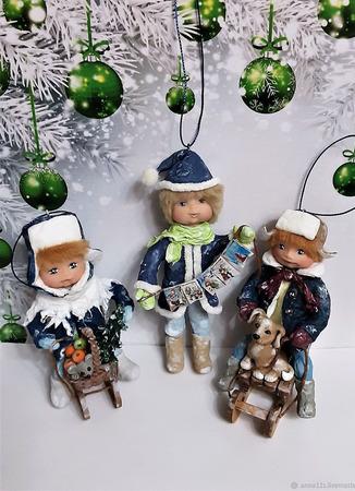 """Ватные ёлочные игрушки """"Новогоднее настроение"""" ручной работы на заказ"""