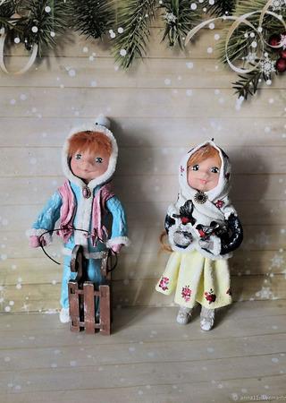 Ёлочные игрушки из ваты (набор) ручной работы на заказ