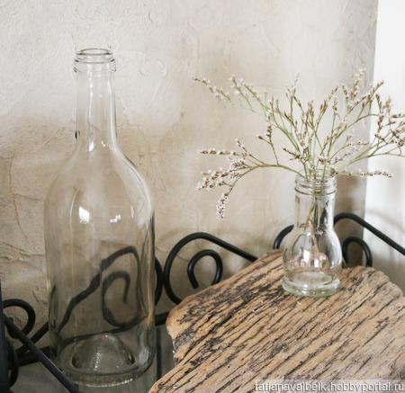 Бутылка стеклянная прозрачная ручной работы на заказ