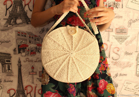 Вязаная круглая сумка из хлопка ручной работы на заказ