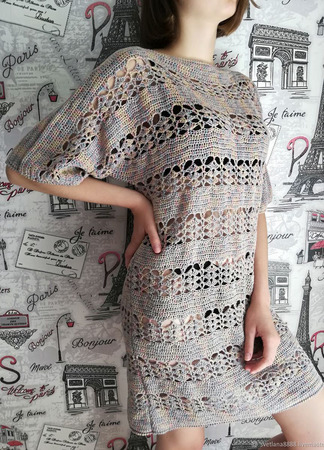 """Вязаное пляжное платье-туника """"Цветной песок """" ручной работы на заказ"""