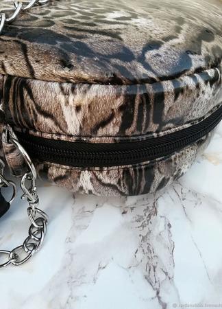 """Женская сумка через плечо """"Змеиный принт"""" ручной работы на заказ"""