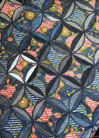 Лоскутный джинсовый комплект в морском стиле ручной работы на заказ