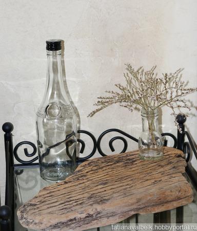 Бутылка стеклянная прозрачная белая с крышкой ручной работы на заказ