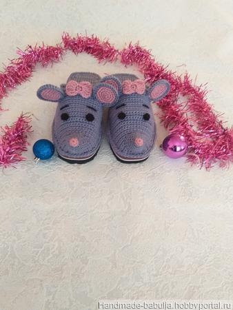 Тапочки-мышки, тапочки-мишки, тапочки-ёжики, тапочки-собачки ручной работы на заказ