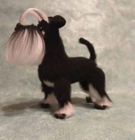 Собака Цвергшнауцер мягкая игрушка крючком ручной работы на заказ