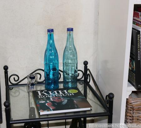 Бутылки 2 оттенка голубого с крышками ручной работы на заказ