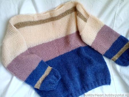 Вязаный свитер из кид-мохера в стиле ColorBlock ручной работы на заказ
